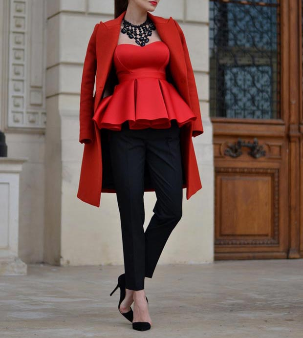 Црвена Peplum Top Outfit