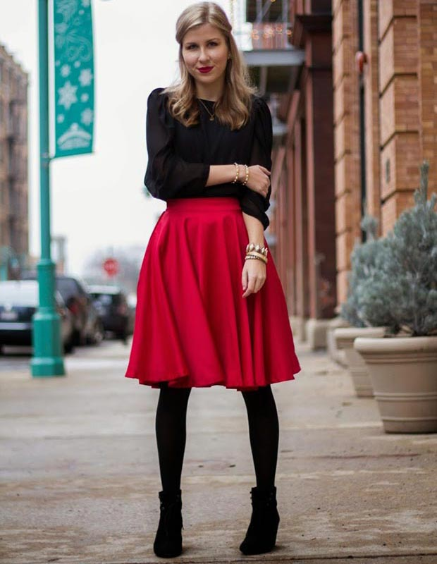 Црвена Midi Skirt Outfit