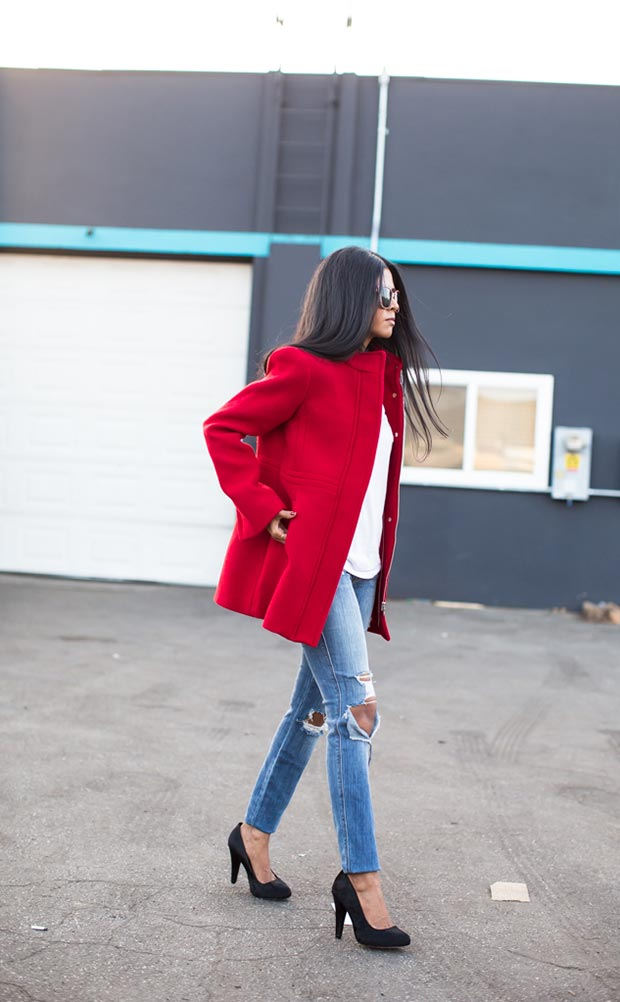 Неформалан Red Coat Outfit for Valentines