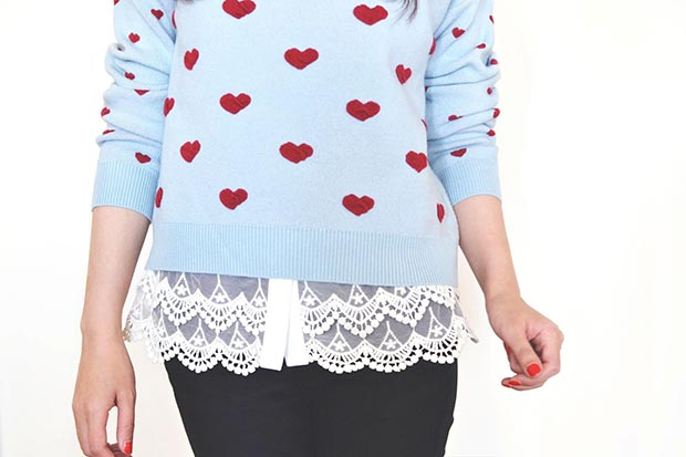 Плави Heart Sweater Outfit