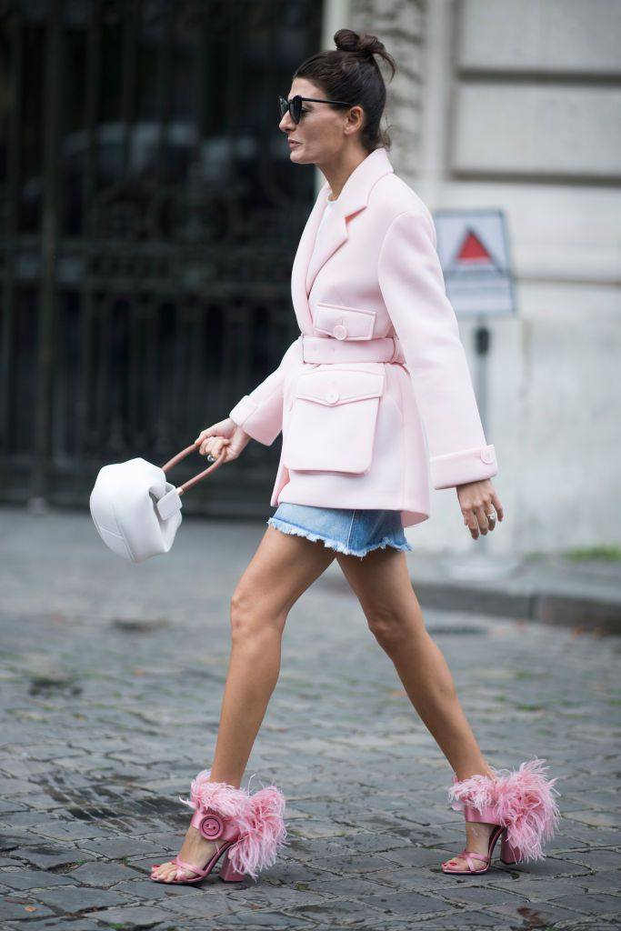 utca style pink jacket and furry shoes