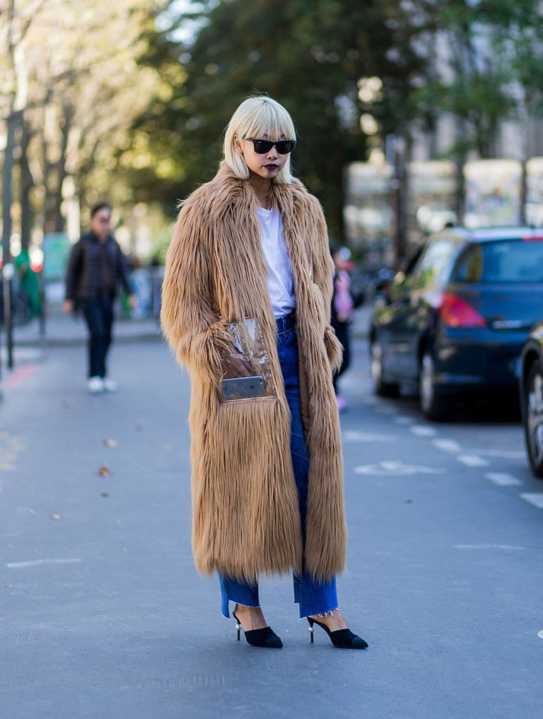 faux fur and jeans street style