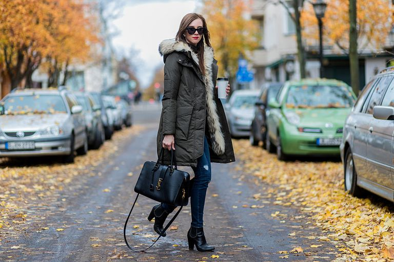 utca style in a trendy puffer jacket and jeans