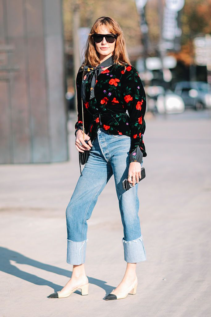utca style floral jacket and cuffed jeans