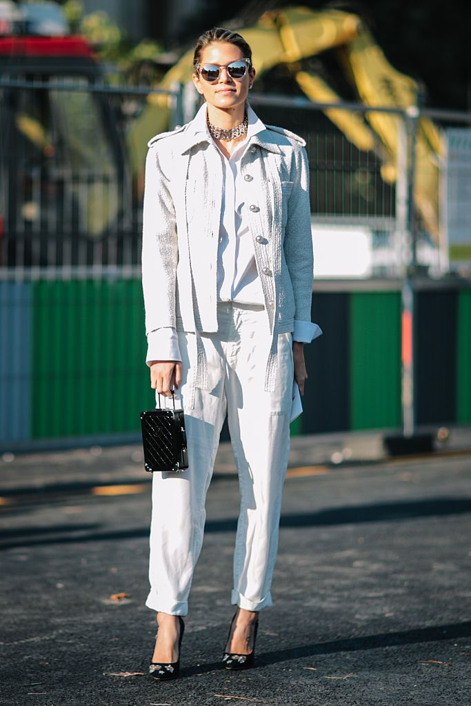 Minden white outfit street style