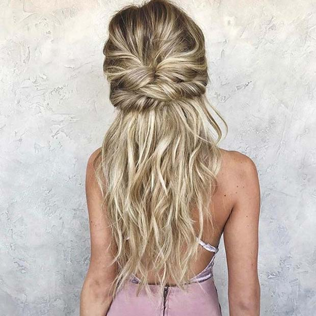 Răsucit Boho Half Up Half Down Hair for Prom