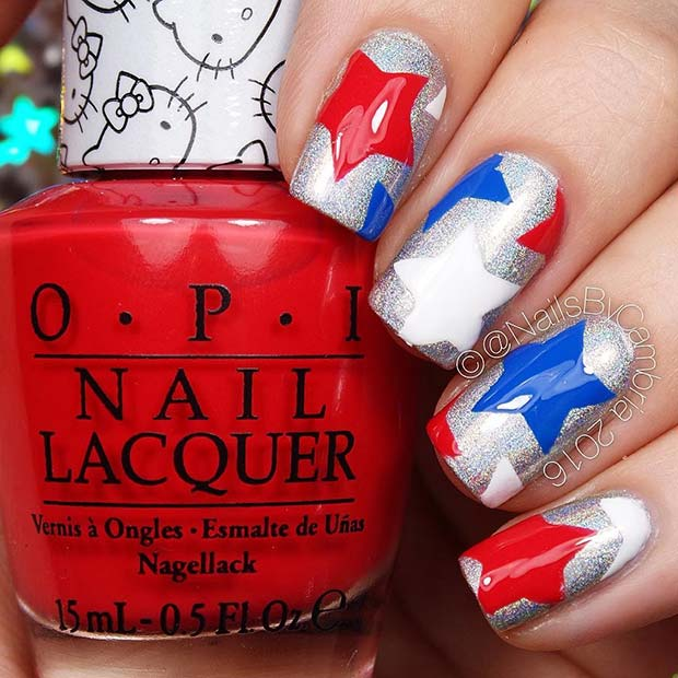 Rdeča, White and Blue Star Nails