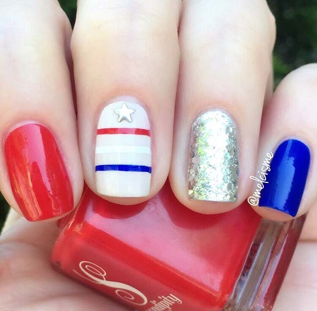 Egyszerű 4th of July Nail Design for Short Nails