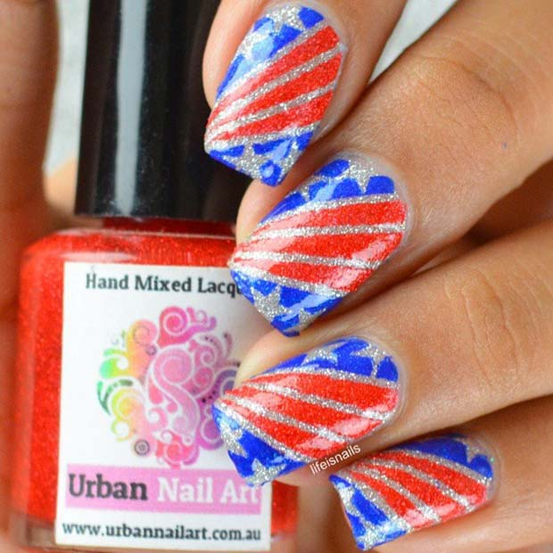 Csillám Flag Nails for the Fourth of July