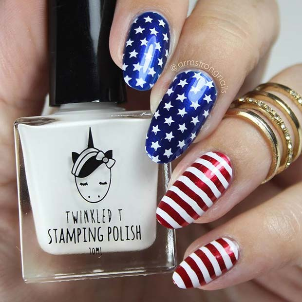 Fémes Stars and Stripes Nails