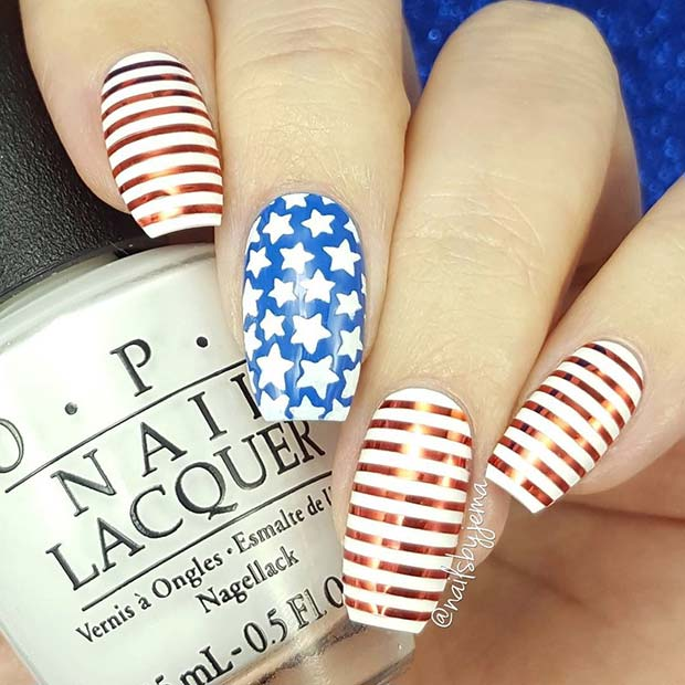 น่ารัก Stars and Stripes Nails