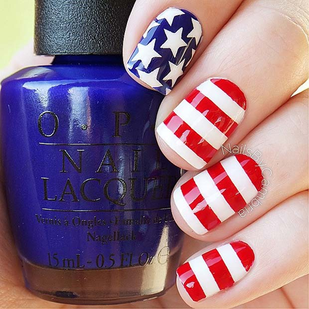 Stripes and Starts 4th of July Nails