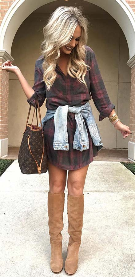 Плаид Shirt Dress and Boots for Fall