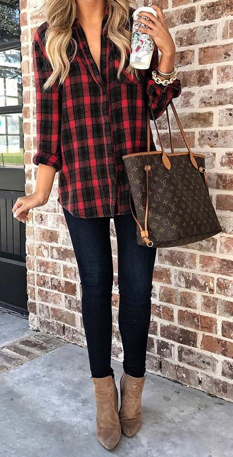 Плаид Shirt and Jeans Fall Outfit