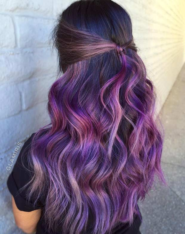 Subtil Dark Purple Highlights on Dark Hair