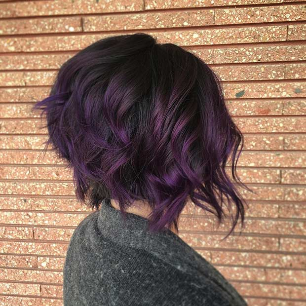 Kort Dark Purple Hair