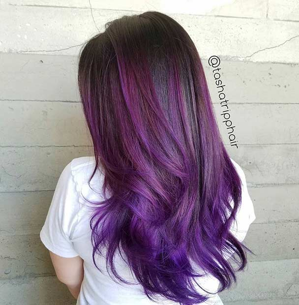 Mörk Purple Balayage Highlights for Brunettes