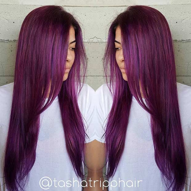 Lång Grape Purple Hair Color Idea