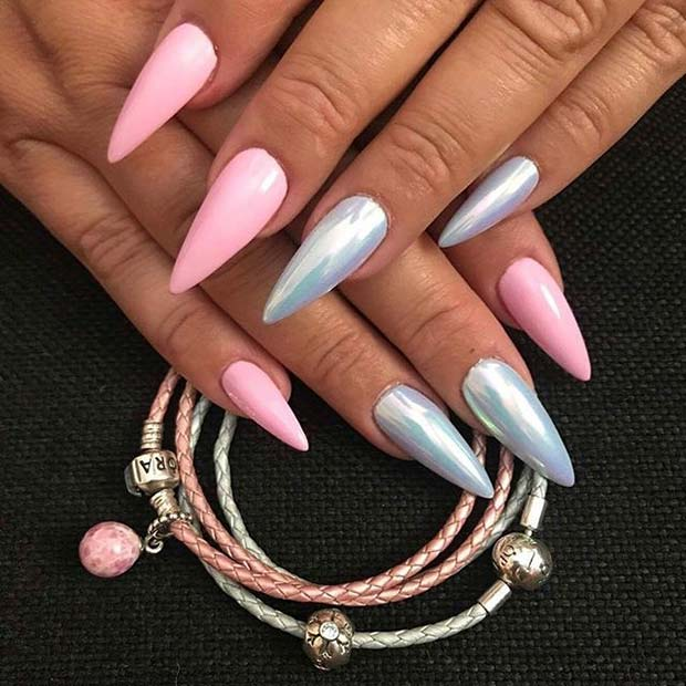 लड़कियों, Pink and Silver Pointy Nails