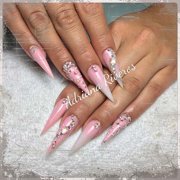 रोशनी Pink and Crystal Pointy Nails