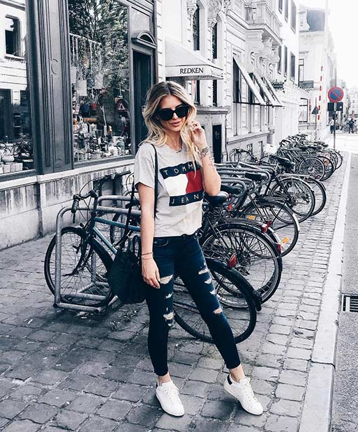 Греи T Shirt Ripped Jeans Casual Outfit Idea