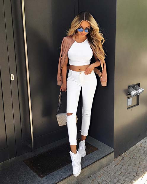 את כל White Outfit for Casual Summer Outfits