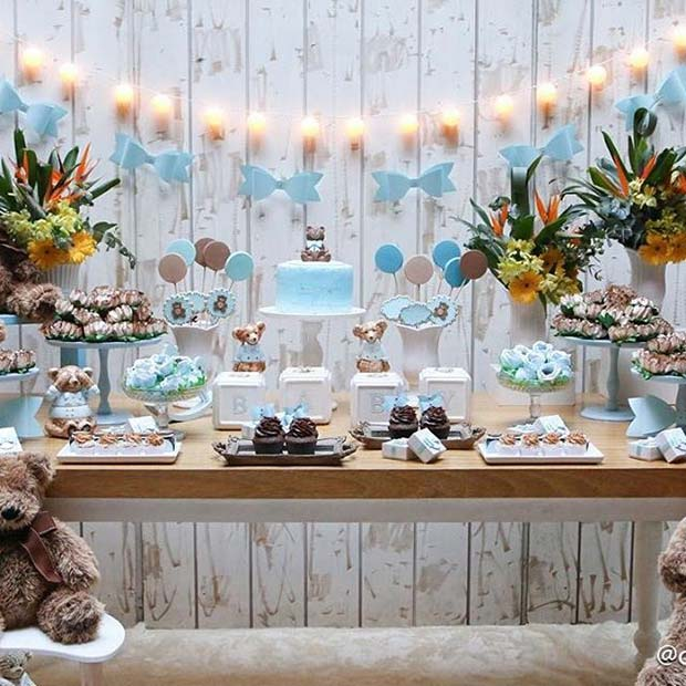 Dekore edilmiş Cake and Buffet Table for Boy's Baby Shower