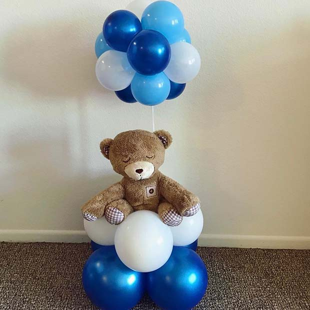 Mavi Balloons and Teddy Gift for Boy's Baby Shower