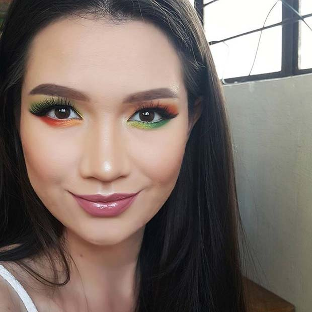 Зелен, Yellow and Orange Eye Shadow Makeup Idea for Spring