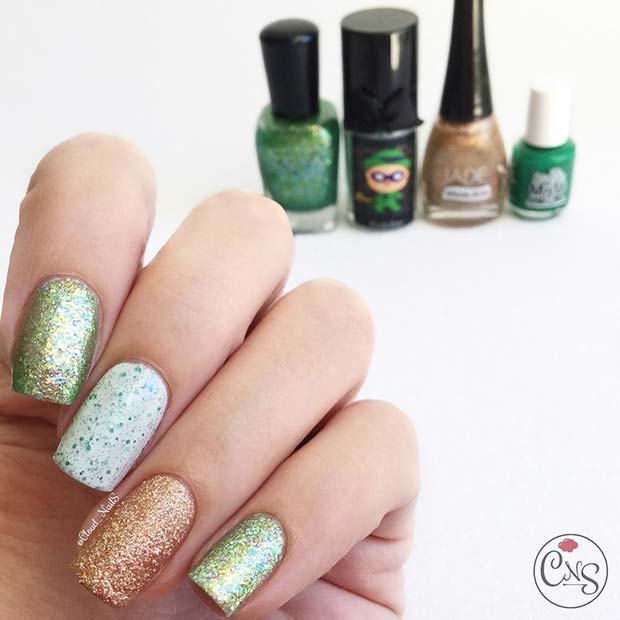 St Patrick's Day Glitter Nails