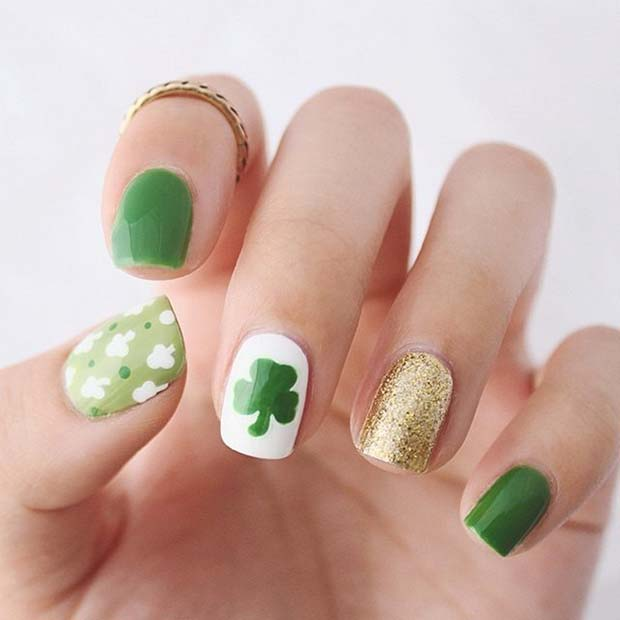 irski Shamrock Nails