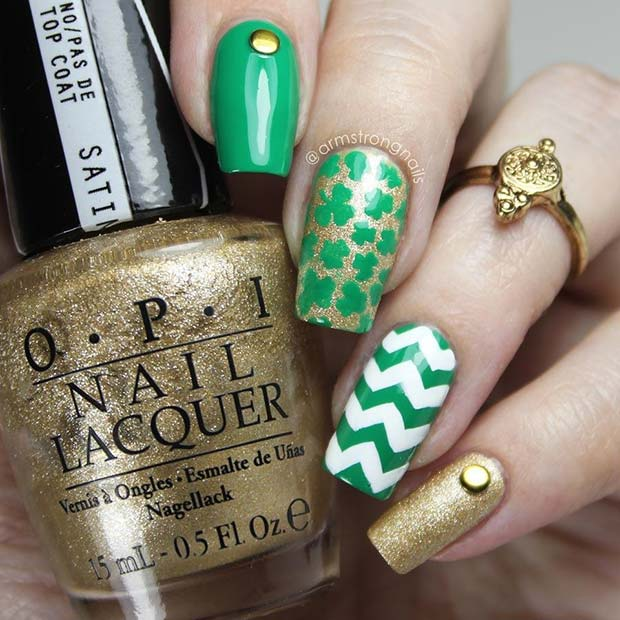 St Patrick's Day Nail Art with Accent Nail