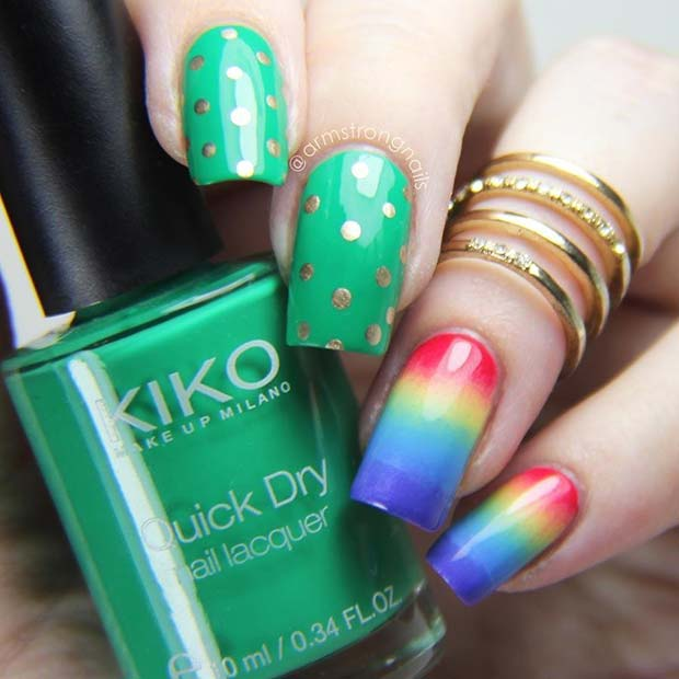 treperav Green and Rainbow St Patrick's Day Nails
