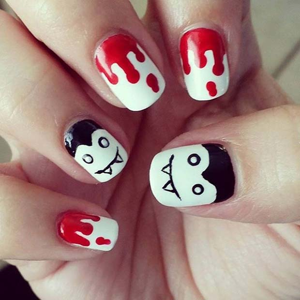 Sânge and Vampire Design for Halloween Nail Designs