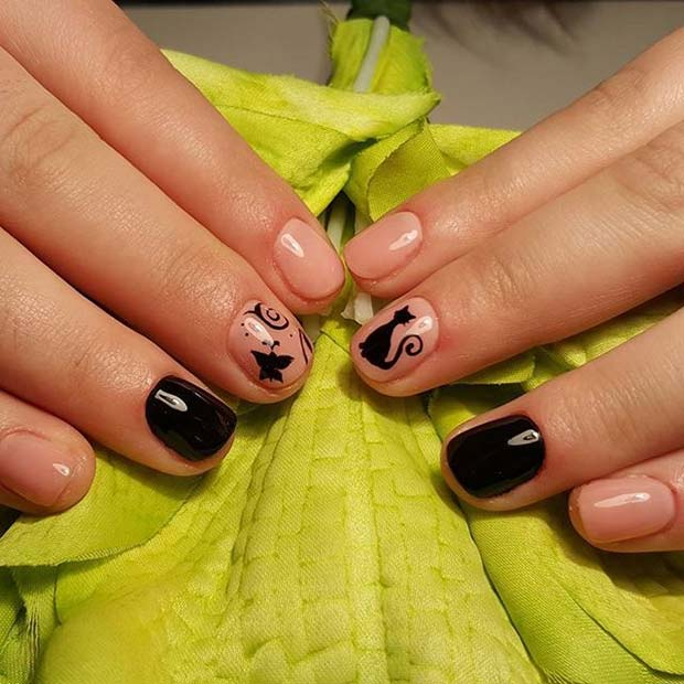 Drăguţ Cat Nails for Halloween Nail Designs