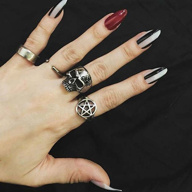 Jack and Sally Inspired Nails for Halloween Nail Designs