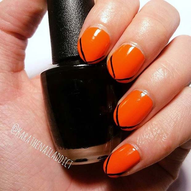 Stilat Black and Orange Nails for Halloween Nail Designs