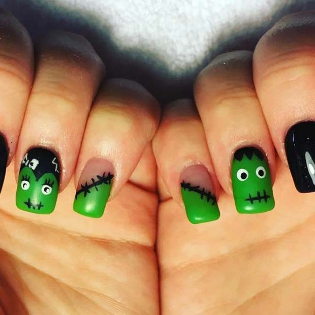 Frankenstein Nails for Halloween Nail Designs
