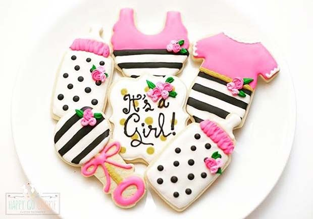 To's a Girl Biscuits with Bottle and Rattle for Girl's Baby Shower Idea