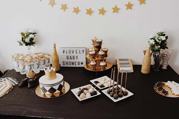 Glam Food Table for Baby Shower