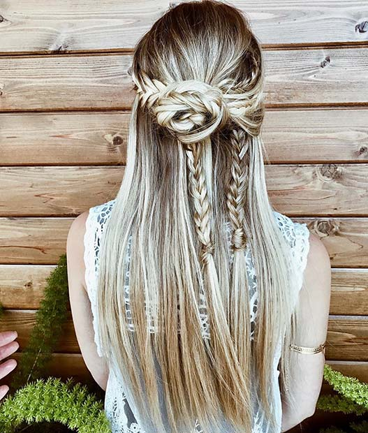 Halv Up, Half Down Boho Braids
