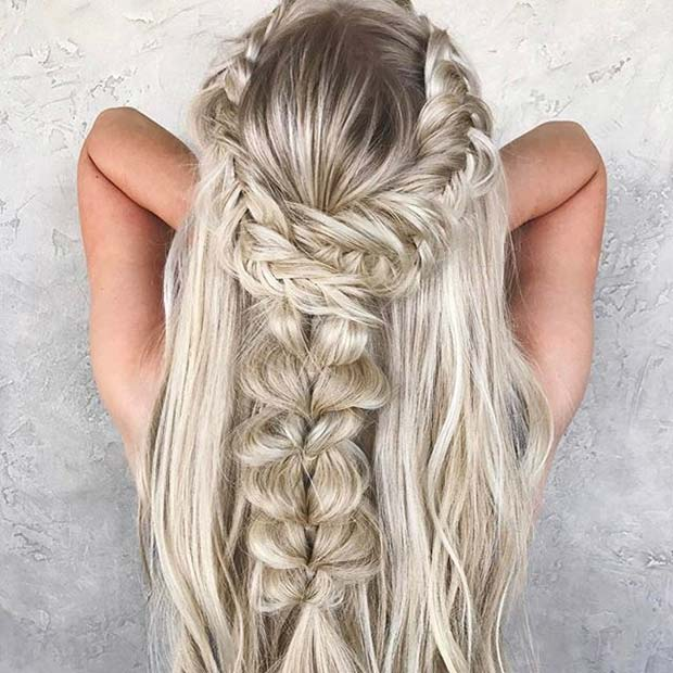Lösa Braided Half Up, Half Down Hair