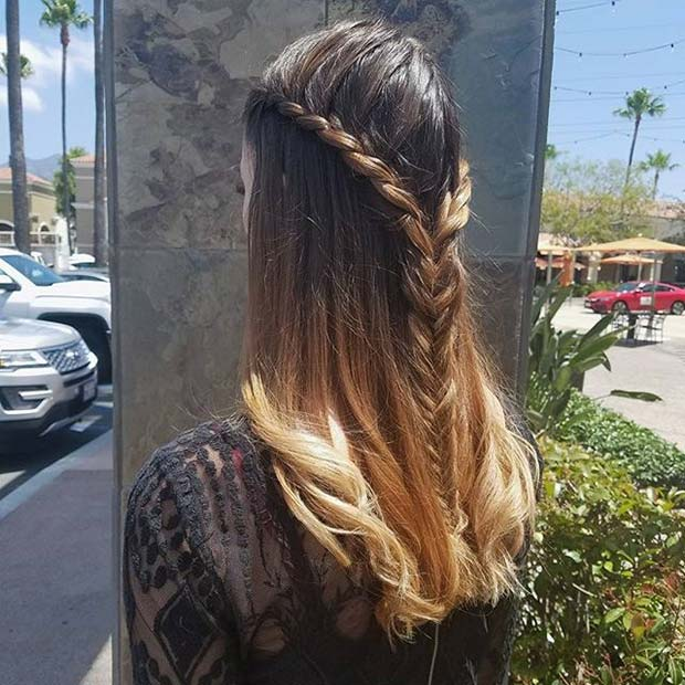 Halv Up, Half Down Fishtail Braid