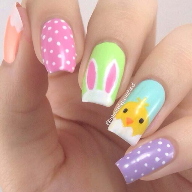 påsk Chick and Bunny Nails