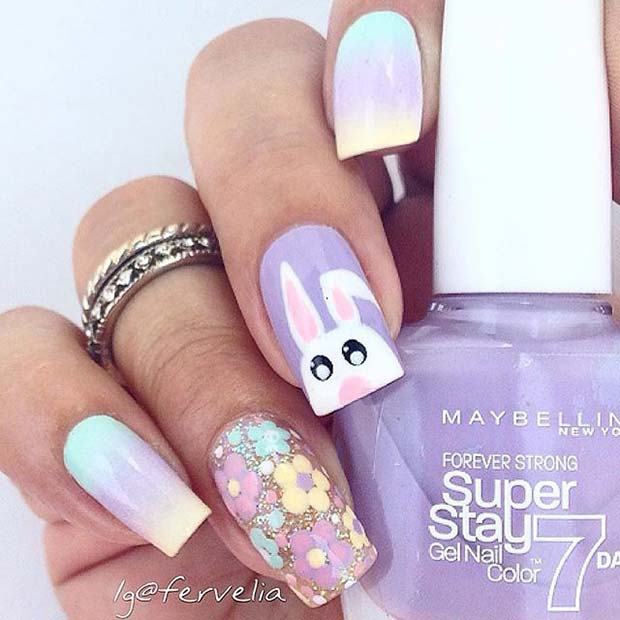 Blommig and Bunny Nail Design