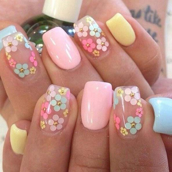 Pastell Floral Nails