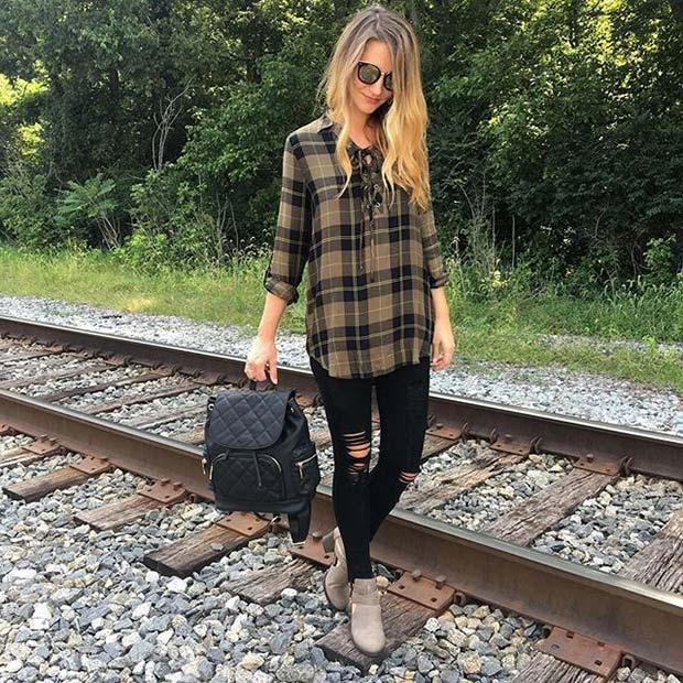 Pläd Shirt and Jeans for Cute Fall 2017 Outfit Ideas