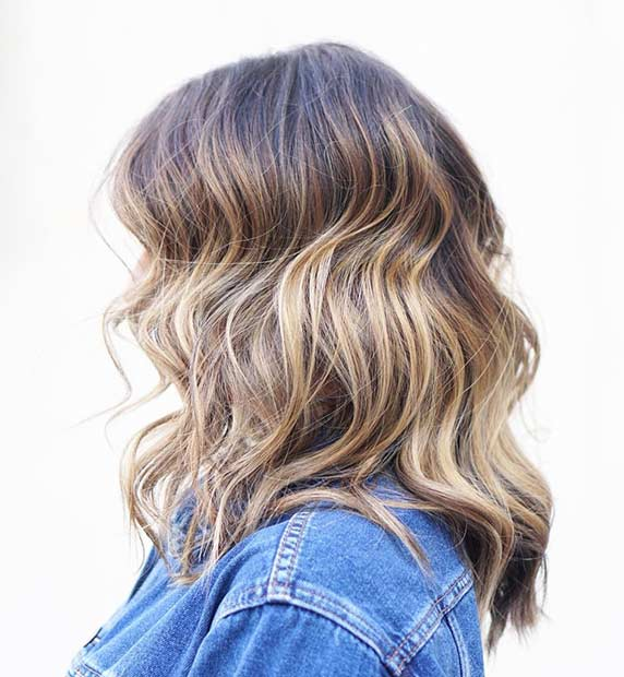 édesem Blonde Balayage Long Bob Hairstyle for Thick