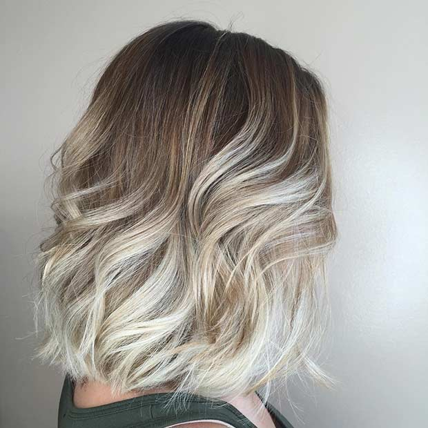 Hullámos Blonde Ombre Long Bob Hairstyle