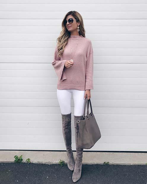 Rózsaszín Sweater and White Jeans for Cute Outfits to Copy This Winter